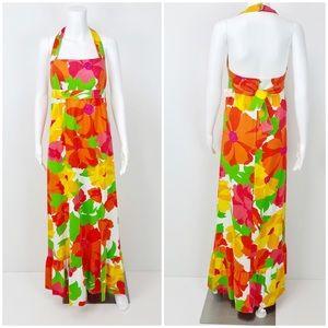 Dresses & Skirts - Vintage 70's  Floral Hawaiian Maxi Dress Deadstock
